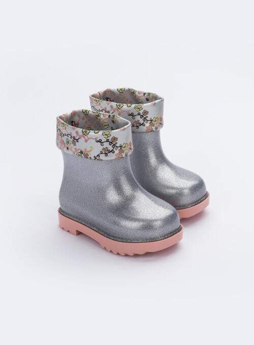 Mini Melissa Rain Boot + Rose & Bleu Bb (Transparente / Rosa)