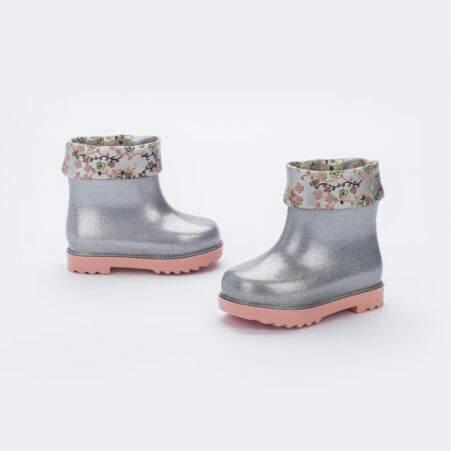 Mini Melissa Rain Boot + Rose & Bleu Bb (Transparente / Rosa)