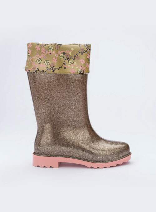 Mini Melissa Rain Boot + Rose & Bleu Inf (Marrom Glitter/Rosa)